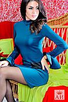 Платье с кожаными кармашками. Арт-1435/17