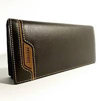 Портмоне, кошелек, купюрник мужской кожаный  Prensiti 8944 В коричневый, чехол для прав, отделы для карт