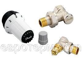 Комплект радиаторных терморегуляторов угловой Danfoss 1/2 RAS-C, RA-FN, RLV-S - Магазин сантехники Eurotherm в Харькове