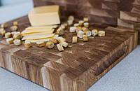 Торцева обробна дерев'яна дошка для кухні Пікнічок з дуба 60х40х4 см (Кухонна дошка для нарізання), фото 1