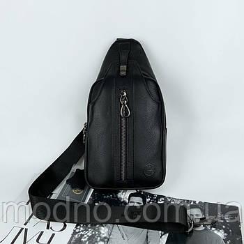 Мужская кожаная нагрудная сумка слинг через плечо H.T Leather