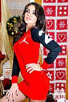 Спортивное красное стильное платье Джордан . Арт-1438/17