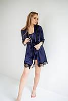 Жіночий шовковий халат S-M темно синій, фото 1