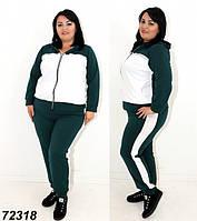 Женский трикотажный спортивный костюм большого размера,зеленый 48 50 52 54 56