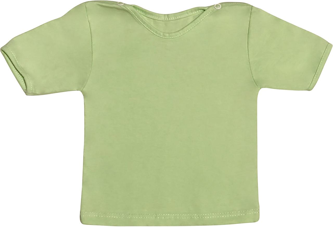 Дитяча футболка для новонароджених малюків зростання 74 6-9 міс на хлопчика дівчинку однотонна кулір салатова