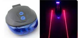 Підсідельна діодна мигалка / задній ліхтар з підсвічуванням 5 LED і лазерної доріжкою (СИНІ ДІОДИ)