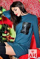 Прямое стильное платье с кожаным карманом. Арт-1443/17