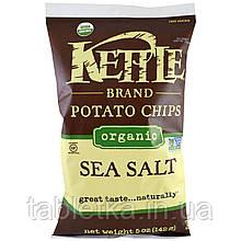 Kettle Foods, Органические картофельные чипсы, морская соль, 5 унций (142 г)