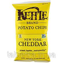 Kettle Foods, Картофельные чипсы, нью-йоркский чеддер, 142 г (5 унций)