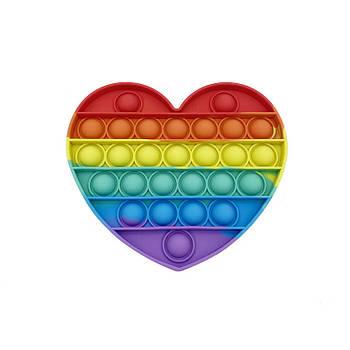 Сенсорная игрушка Pop It Fidget антистресс пупырка Радужное сердце