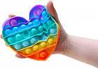 Сенсорна іграшка Pop It Fidget антистрес пупырка Райдужне серце, фото 3