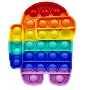 Сенсорная игрушка Pop It Fidget антистресс пупырка Радужный амонг