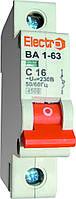 Автоматический выключатель (Автомат) ВА1-63 1 полюс 6A  4,5кА  х-ка С, ТМ Electro