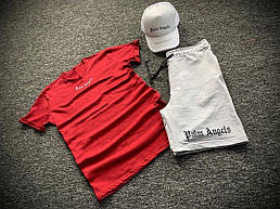 Летний мужской комплект Футболка + шорты + кепка Размеры: ХS, S, M, L, XL, XXL. Palm Angels