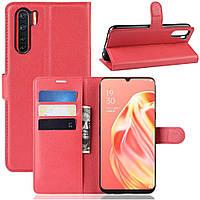 Чехол-книжка Litchie Wallet для Oppo Reno 3 / A91 Red