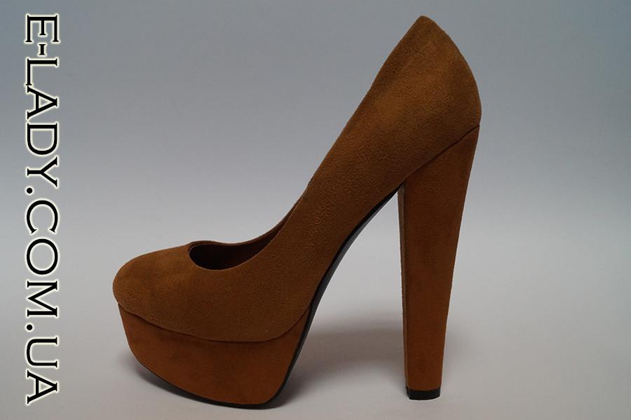 Замшевые коричневые туфли на платформе и высоком каблуке 485a380c23e07