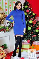 Красивое стильное короткое синее  платье Ангора. Арт-1447/17