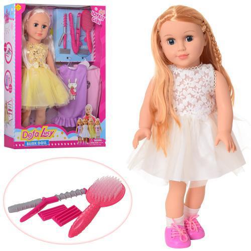 Кукла DEFA 5513 мягконабив,47см,платья 2шт, расческа, плойка, 2вида, в кор-ке, 36-48,5-10,5см