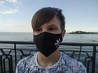 Маска многоразовая тканевая защитная черная ADIDAS на лицо, маска для рта