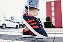 Женские кроссовки Adidas Gazelle Blue Red, фото 3