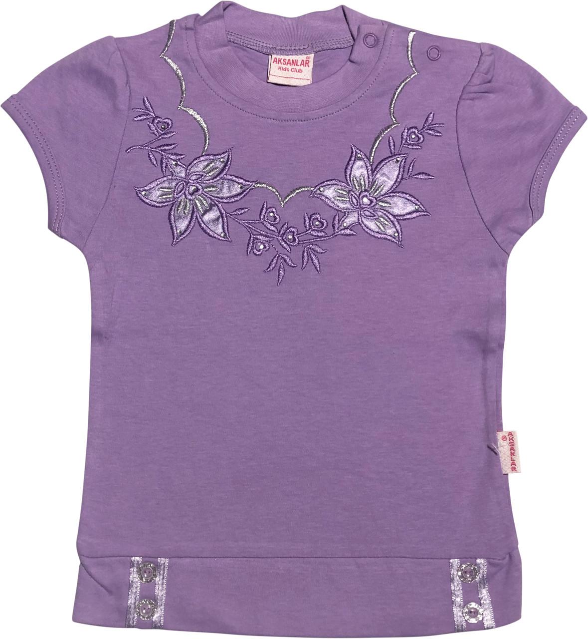 Детская футболка на девочку рост 98 2-3 года для малышей красивая стильная нарядная трикотажная сиреневая