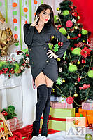Красивое стильное короткое черное платье с золотыми пуговицами. Арт-1450/17