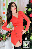 Красивое стильное короткое  красное платье с золотыми пуговицами. Арт-1450/17