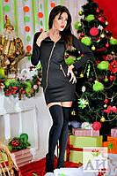 Черное стильное короткое платье с змейкой на косую. Арт-1451/17