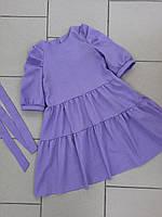 Льняное платье для девочек лаванда, фото 1
