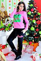 Спортивный стильный женский розовый костюм БАРБИ. Арт-1452/17