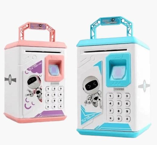 Дитяча скарбничка сейф з кодовим замком і купюропріємником для паперових грошей і монет, Дитячий сейф з відбитком