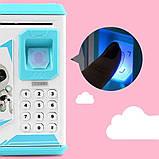 Дитяча скарбничка сейф з кодовим замком і купюропріємником для паперових грошей і монет, Дитячий сейф з відбитком, фото 2