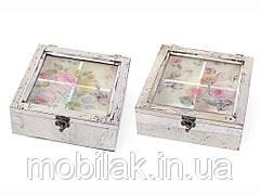 Коробка для чаю деревяна (4 відділення) зі скл. кришкою Птахи 487-311