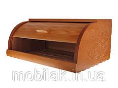 Хлібниця деревяна на рейках Різблена ТМ ЧЕРНІВЦІ