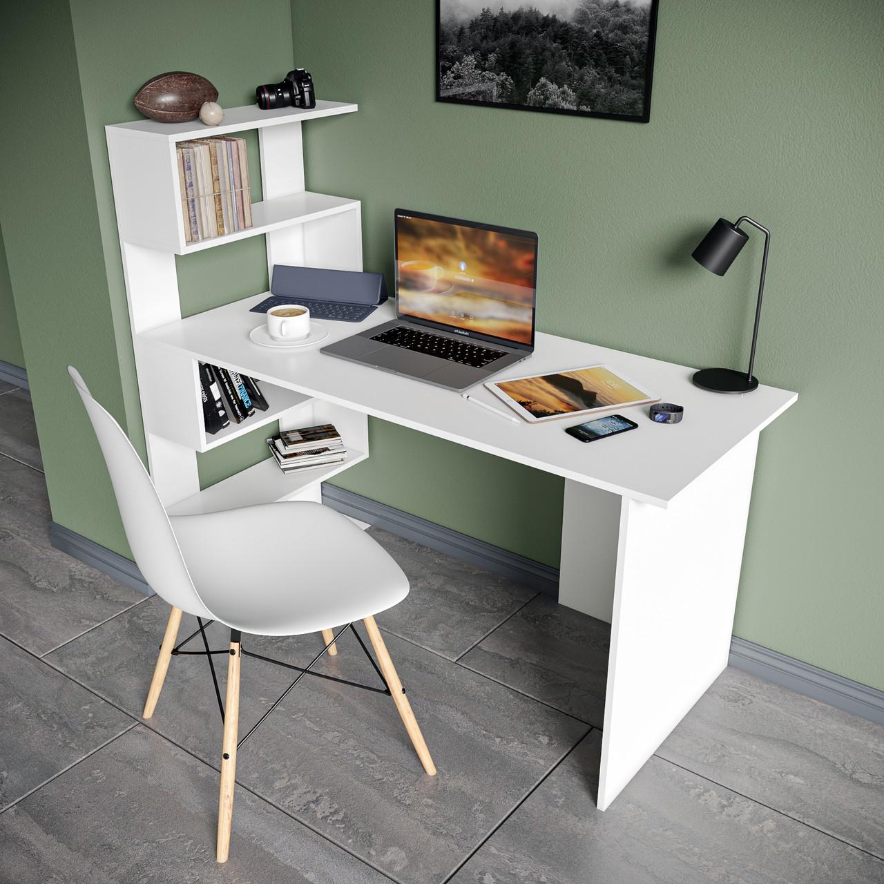 Стол письменный с полками слева, для ноутбука и компьютера S-24