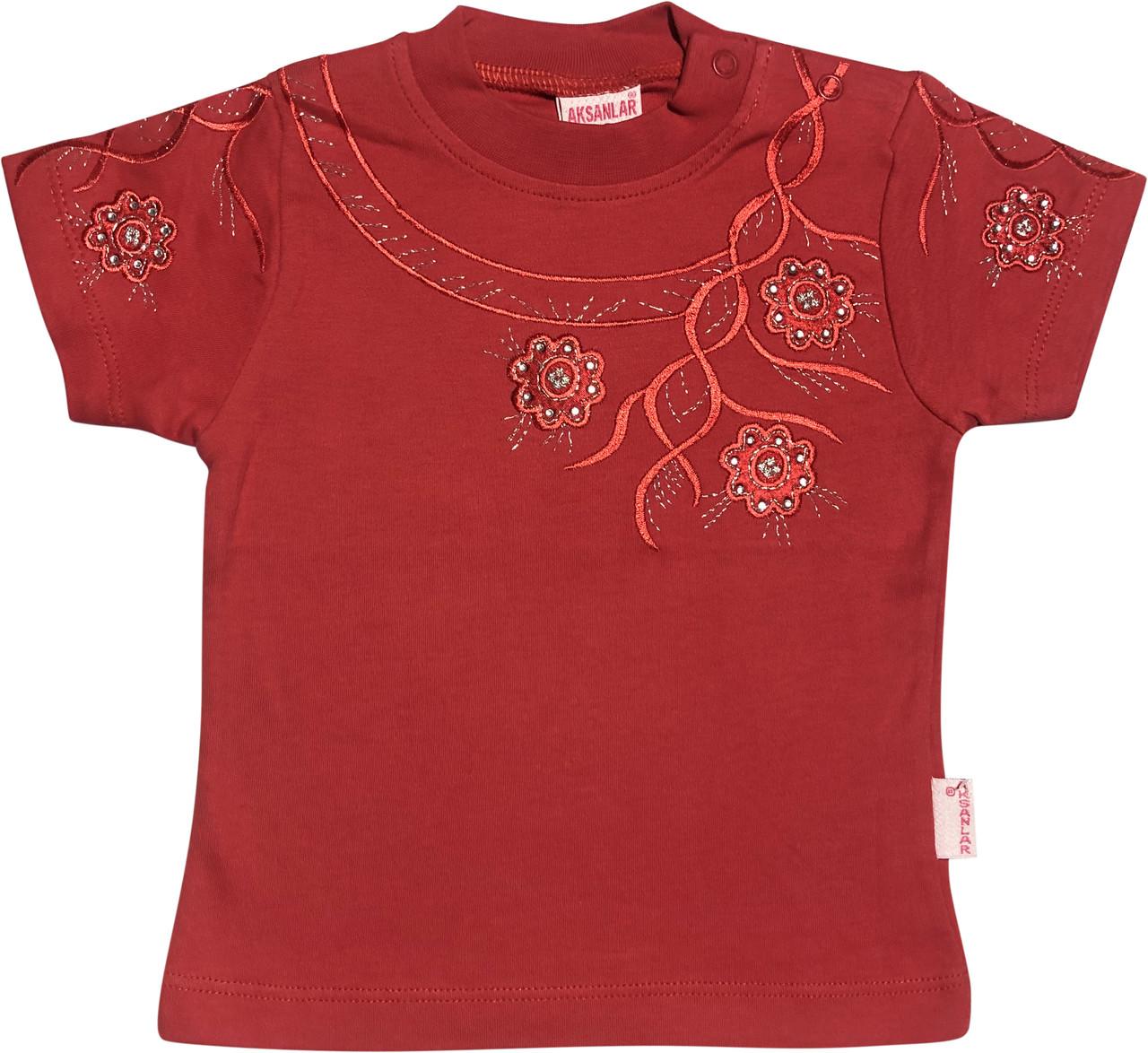 Дитяча футболка на дівчинку ріст 86 1-1,5 року для новонароджених малюків ошатна трикотажна теракотова