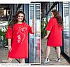 Платье-футболка с накаткой и стразами красный