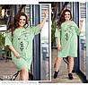 Платье-футболка с накаткой и стразами оливковый