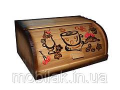 Хлібниця деревяна на рейках (комбінована темна з малюнком) ТМ ЧЕРНІВЦІ