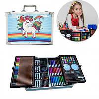 Детский набор для рисования и творчества в двухъярусном чемоданчике Единорог