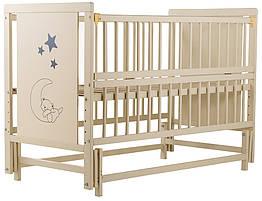 Кровать Babyroom Медвежонок, маятник, откидной бок бук слоновая кость
