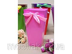 Коробка для квітів трапеція велика 9,5*15*26,5 див. Кол. Рожевий ТМ УПАКОВКИН