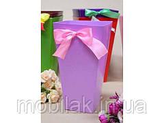 Коробка для квітів трапеція велика 9,5*15*26,5 див. Кол. Лавандовий ТМ УПАКОВКИН