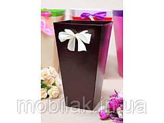 Коробка для квітів трапеція велика 9,5*15*26,5 див. Кол. Шоколадний ТМ УПАКОВКИН