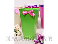 Коробка для квітів трапеція велика 9,5*15*26,5 див. Кол. Зелений ТМ УПАКОВКИН