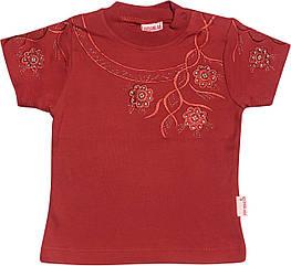 Детская футболка на девочку рост 92 1,5-2 года для малышей красивая стильная нарядная трикотажная терракотовая
