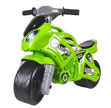 Детский двухколесный мотоцикл толокар-каталка с ручкой для переноса Салатовый детский мотоцикл