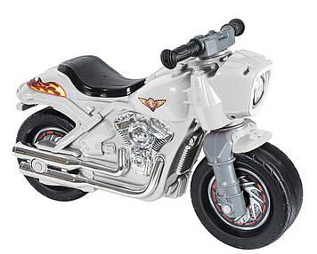 Мотоцикл толокар-каталка для детей с высоким сиденьем и большими колесами Белый детский мотоцикл