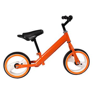 """Беговел с бескамерными светящимися колесами EVA диаметром 12"""" Оранжевый беговел"""