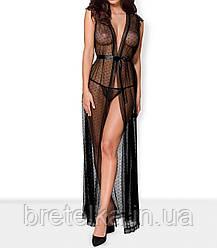 Халат женский длинный черный полупрозрачный стринги Obsessive 876 L/XL
